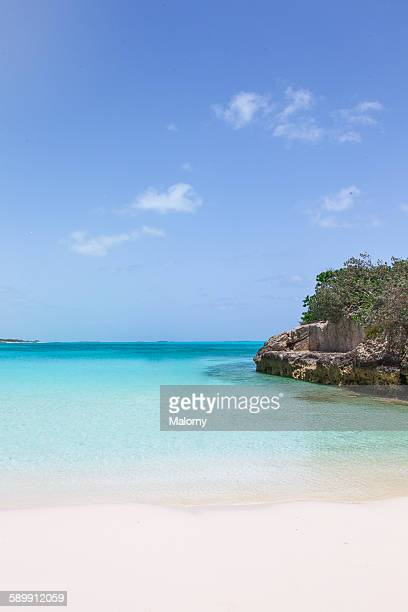 A secluded white sand beach in the Caribbean
