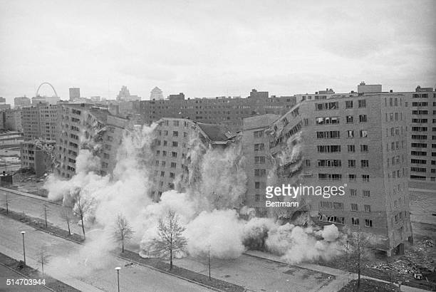 A second 11story building in the massive Pruitt_Igoe public housing complex is demolished by dynamite April 21st Dynamite charges placed under each...