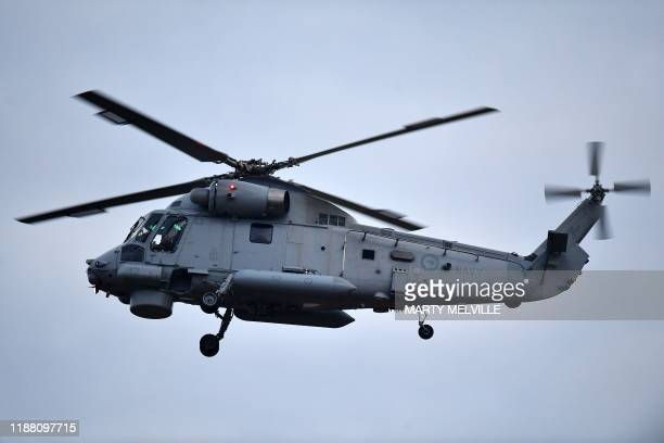 A second airforce helicopter arrives at Whakatane airport to help with the removal of the 8 bodies of those lost in the December the 9th White Island...
