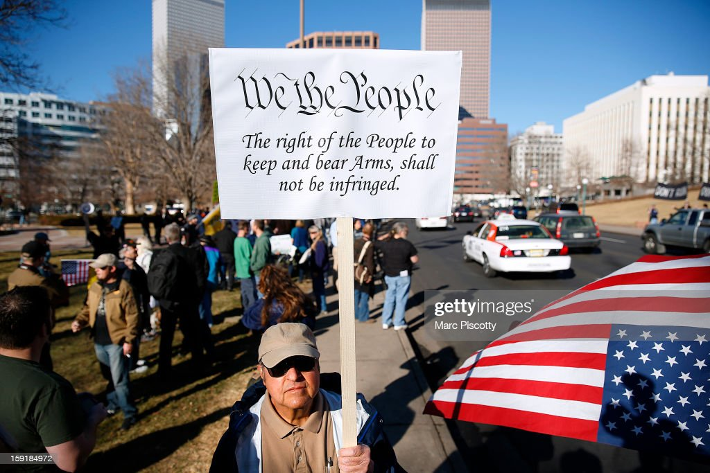 Second Amendment activist Joseph Gabriele of Littleton, Colorado gathers with other activists in support of gun ownership on January 9, 2013 at the Colorado State Capitol in Denver, Colorado. Lawmakers are calling for tougher gun legislation after recent mass shootings at an Aurora, Colorado movie theater and elementary school in Newtown, Connecticut.