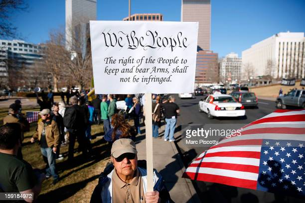 Second Amendment activist Joseph Gabriele of Littleton Colorado gathers with other activists in support of gun ownership on January 9 2013 at the...