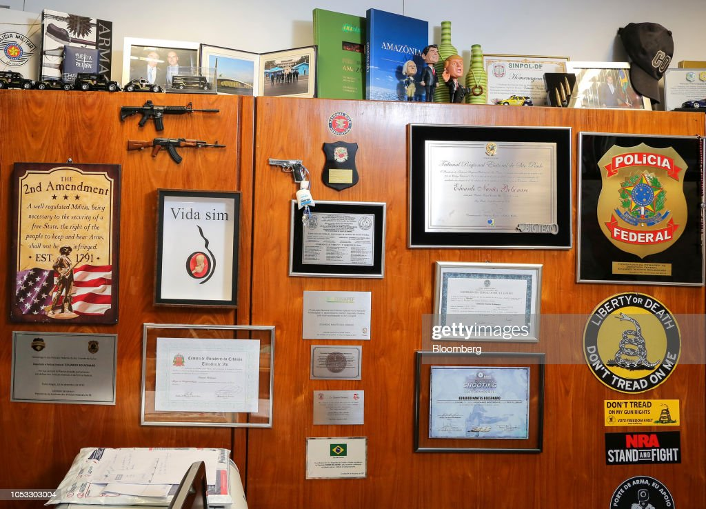 Brazil's Bolsonaros Have A Shrine To The NRA And 2nd Amendment : News Photo