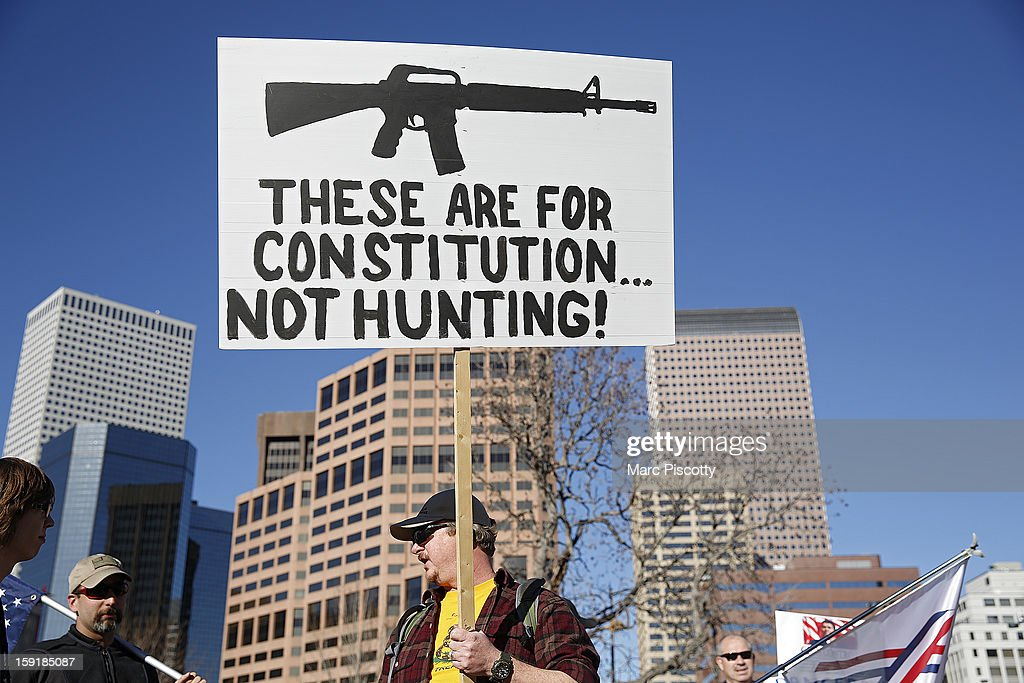 Second Amendment supporter Kelly Sands of Wheatridge, Colorado gathers with other activists on January 9, 2013 at the Colorado State Capitol in Denver, Colorado. Lawmakers are calling for tougher gun legislation after recent mass shootings at an Aurora, Colorado movie theater and at Sandy Hook Elementary School in Newtown, Connecticut.