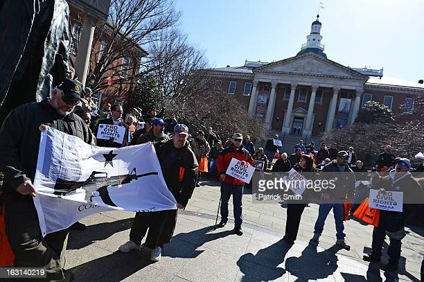 Second Amendment supporters rally against stricter gun control laws at the Maryland State House on March 5 2013 in Annapolis Maryland If the Maryland...