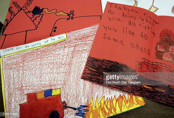 Second and third grade students in Ms Caldwell's class at Ringgold Elementary School drew thank you drawings for the volunteer firefighters who...