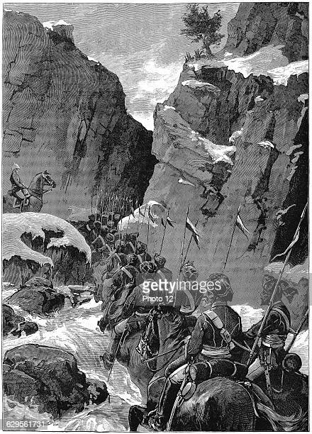 Second AngloAfghan War 10th Bengal Lancers negotiating the Jugdulluk Pass supervised by a British officerDecember 1879Wood engraving