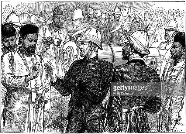 Second AngloAfghan War 1879 Yakub Khan ruler of Afghanistan being shown details of British guns during review at Gundamuck shortly after the signing...