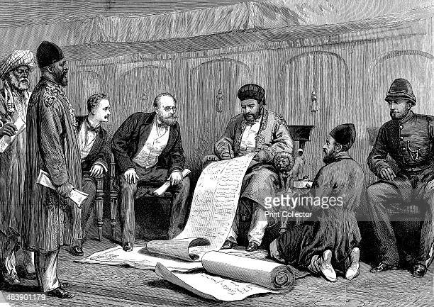 Yakub Khan Afghan ruler and Major Louis Cavagnari the British negotiator signing the Treaty of Gundamuk 26 May 1879
