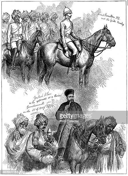 Yakub Khan ruler of Afghanistan at a review at Gundamuck 30 May 1879 after signing of Treaty of Gundamuck on 26 May At top Lieut Hamilton rides at...