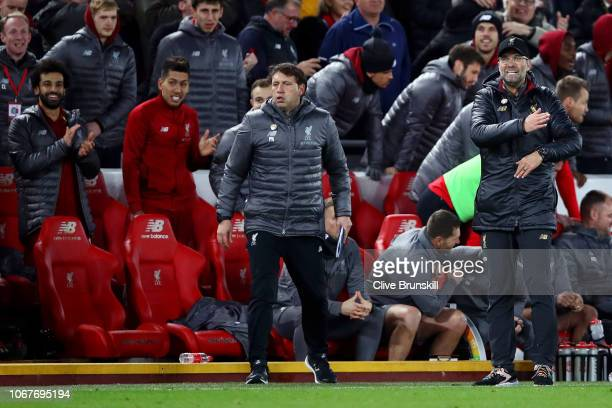 Second Assistant coach at Liverpool Peter Krawietz and Jurgen Klopp react during the Premier League match between Liverpool FC and Everton FC at...