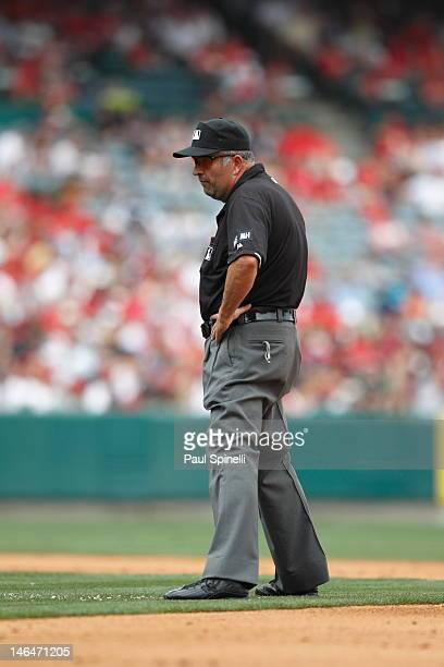 Second base umpire Dale Scott looks on during the Los Angeles Angels of Anaheim game against the Baltimore Orioles on April 22 2012 at Angel Stadium...