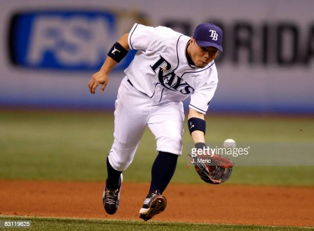 Second baseman Akinori Iwamura of the Tampa Bay Rays fields a ground ball against the Chicago White Sox in Game 2 of the American League Divisional...