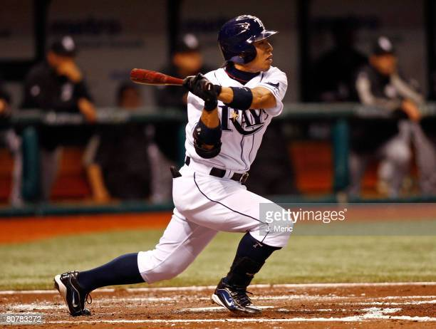 Second baseman Akinori Iwamura of the Tampa Bay Rays singles in the second inning against the Chicago White Sox during the game on April 19 2008 at...