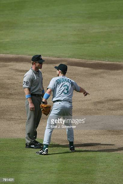 Second Baseman Brent Abernathy of the Tampa Bay Devil Rays argues the call with second base umpire Jim Wolf after second baseman Luis Castillo of the...