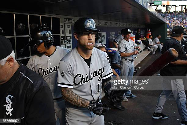 May 31: Second baseman Brett Lawrie of the Chicago White Sox preparing to bat in the dugout wearing his white mouth guard, which makes it look like...