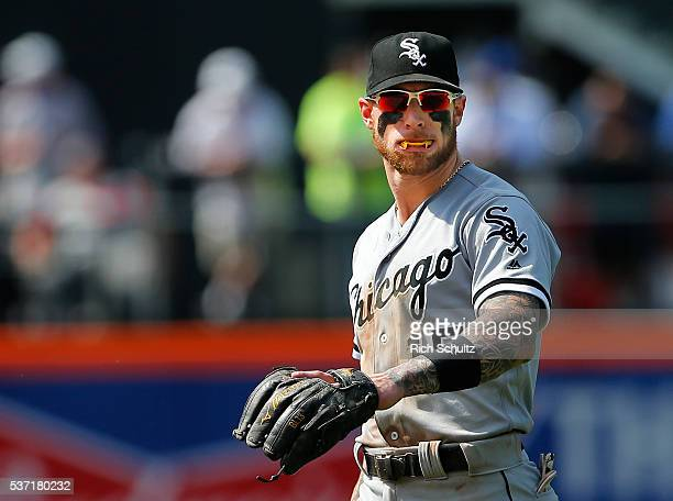 Second baseman Brett Lawrie of the Chicago White Sox shows off his fang mouth guard during a game against the New York Mets at Citi Field on June 1...