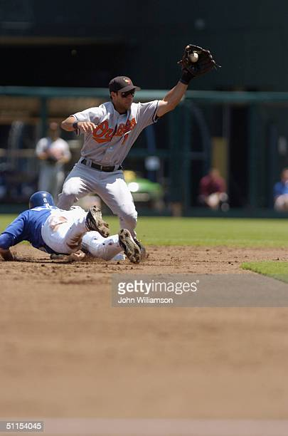 Second baseman Brian Roberts of the Baltimore Orioles attempts to tag out David DeJesus of the Kansas City Royals at second base during the MLB game...