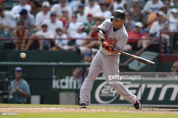 Second baseman Brian Roberts of the Baltimore Orioles bats during the game against the Texas Rangers at Ameriquest Field in Arlington on August 6...