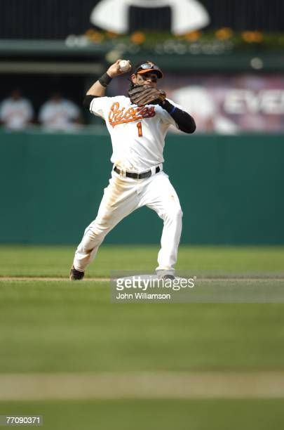 Second baseman Brian Roberts of the Baltimore Orioles throws to first base after fielding a ground ball during the game against the Minnesota Twins...