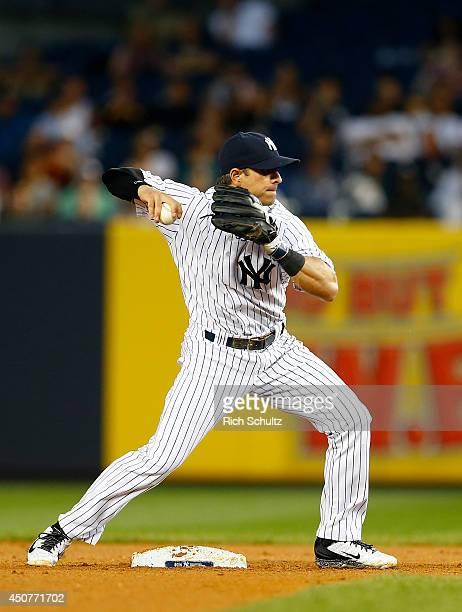 Second baseman Brian Roberts of the New York Yankees in the field against the Oakland Athletics in a MLB baseball game at Yankee Stadium on June 4...