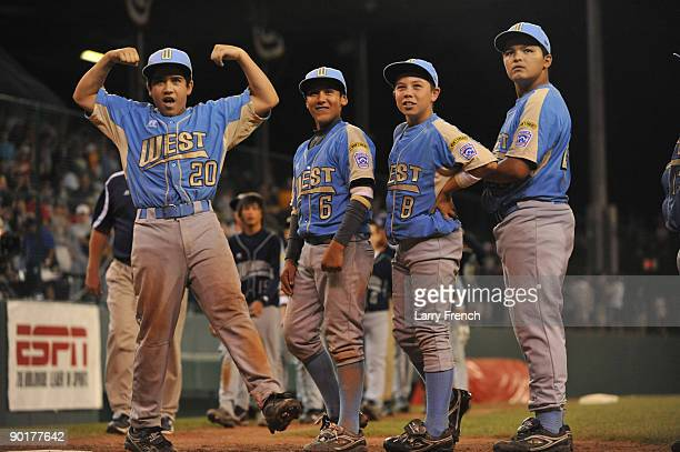 Second baseman Bulla Graft of the West celebrates his team's win against the Southwest in the US final at Lamade Stadium on August 29 2009 in...