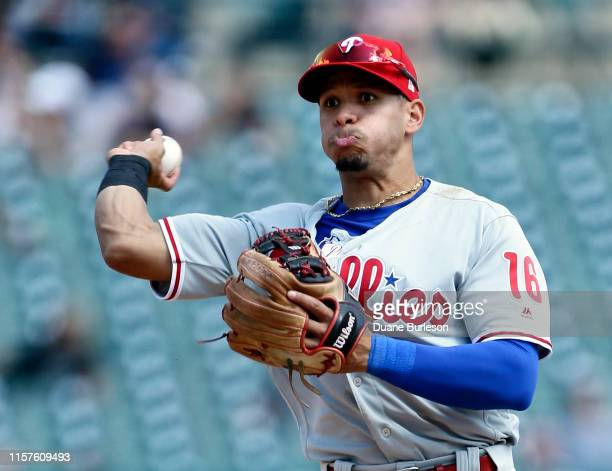 Second baseman Cesar Hernandez of the Philadelphia Phillies throws out Harold Castro of the Detroit Tigers at first base during the eighth inning at...
