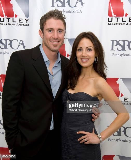 Second baseman Chase Utley of the Philadelphia Phillies and his wife Jennifer Utley attend the 2nd Annual Utley AllStar Animals Casino Night at The...