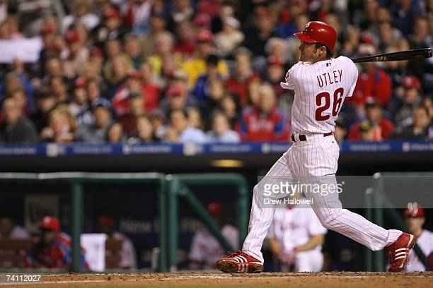 Second baseman Chase Utley of the Philadelphia Phillies bats against the Florida Marlins on April 28 2007 at Citizens Bank Park in Philadelphia...