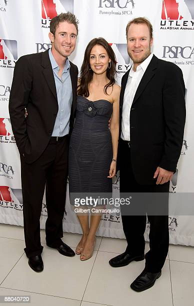 Second baseman Chase Utley of the Philadelphia Phillies his wife Jennifer Utley and Eric Bruntlett of the Philadelphia Phillies attend the 2nd Annual...