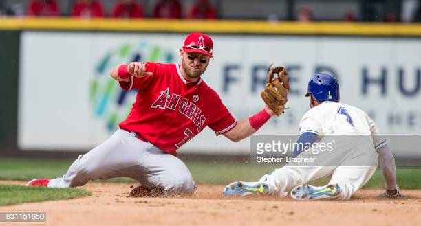Second baseman Cliff Pennington of the Los Angeles Angels of Anaheim is unable to make a tag as Jarrod Dyson of the Seattle Mariners steals second...