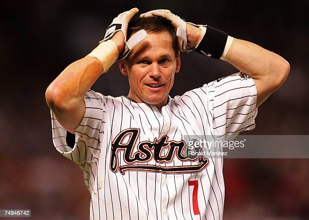 Second baseman Craig Biggio of the Houston Astros reacts after getting his 3,000th career hit against the Colorado Rockies in the 7th inning on June...