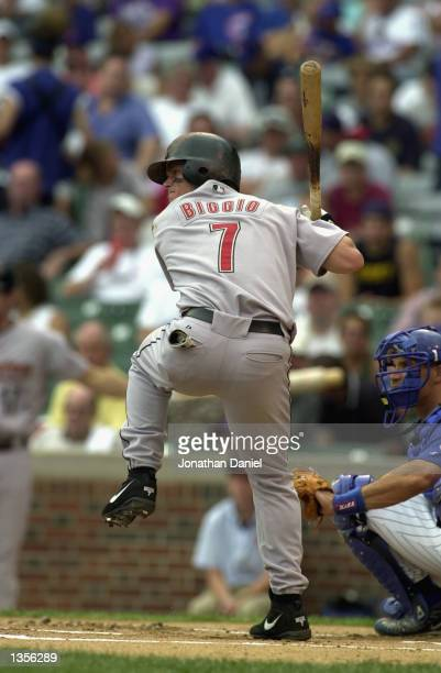 Second Baseman Craig Biggio of the Houston Astros readies for the pitch against the Chicago Cubs during the game on August 13, 2002 at Wrigley Field...