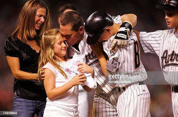Second baseman Craig Biggio of the Houston Astros with wife Patty daughter Quinn with sons Conor and Cavan after getting his 3000th career hit...