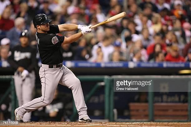 Second baseman Dan Uggla of the Florida Marlins bats against the Philadelphia Phillies on April 28 2007 at Citizens Bank Park in Philadelphia...
