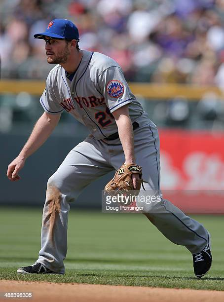 Second baseman Daniel Murphy of the New York Mets plays defense against the Colorado Rockies at Coors Field on May 4 2014 in Denver Colorado The Mets...
