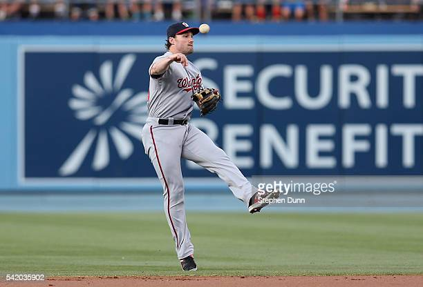 Second baseman Daniel Murphy of the Washington Nationals throws out Corey Seager of the Los Angeles Dodgers on a ground ball in the first inning at...