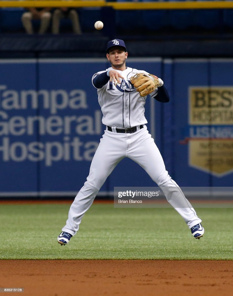 Second baseman Daniel Robertson #29 of the Tampa Bay Rays fielder the ground out by Kyle Seager of the Seattle Mariners during the first inning of a game on August 18, 2017 at Tropicana Field in St. Petersburg, Florida.