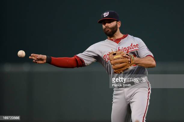 Second baseman Danny Espinosa of the Washington Nationals against the Baltimore Orioles during an interleague game at Oriole Park at Camden Yards on...