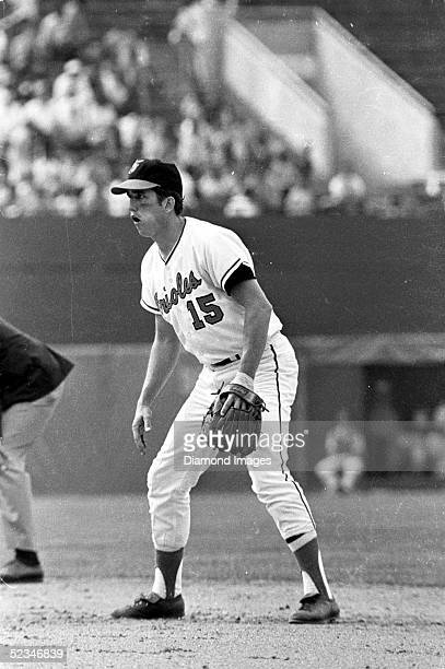 Second baseman Davey Johnson of the Baltimore Orioles awaits the next pitch during a game at Memorial Stadium in Baltimore Maryland Johnson played...