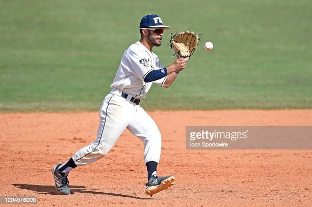 Second baseman Derek Cartaya fields a hopping ground ball in the ninth inning as the Pepperdine University Waves faced the FIU Golden Panthers on...