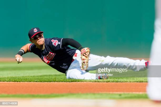 Second baseman Giovanny Urshela of the Cleveland Indians attempts to throw out Manny Machado of the Baltimore Orioles at first during the first...