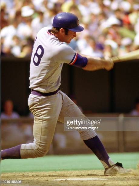 Second baseman Glenn Beckert of the Chicago Cubs at bat during a game in 1972 against the Cincinnati Reds at Riverfront Stadium in Cincinnati OH...