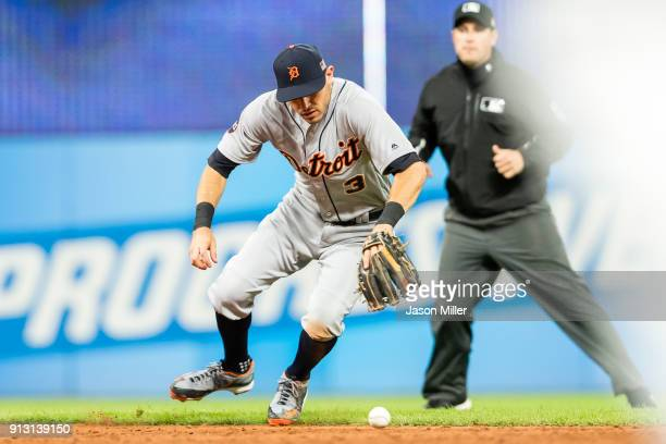 Second baseman Ian Kinsler of the Detroit Tigers fields a ground ball hit by Carlos Santana of the Cleveland Indians during the third inning at...
