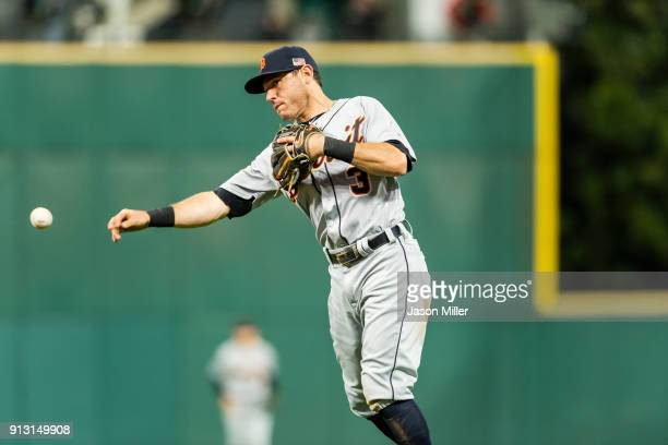 Second baseman Ian Kinsler of the Detroit Tigers throws out Lonnie Chisenhall of the Cleveland Indians at first to end the fifth inning at...