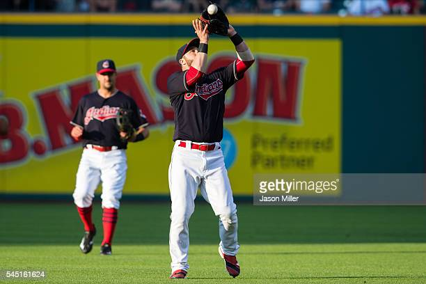 Second baseman Jason Kipnis of the Cleveland Indians catches a pop fly by Jose Iglesias of the Detroit Tigers during the third inning at Progressive...