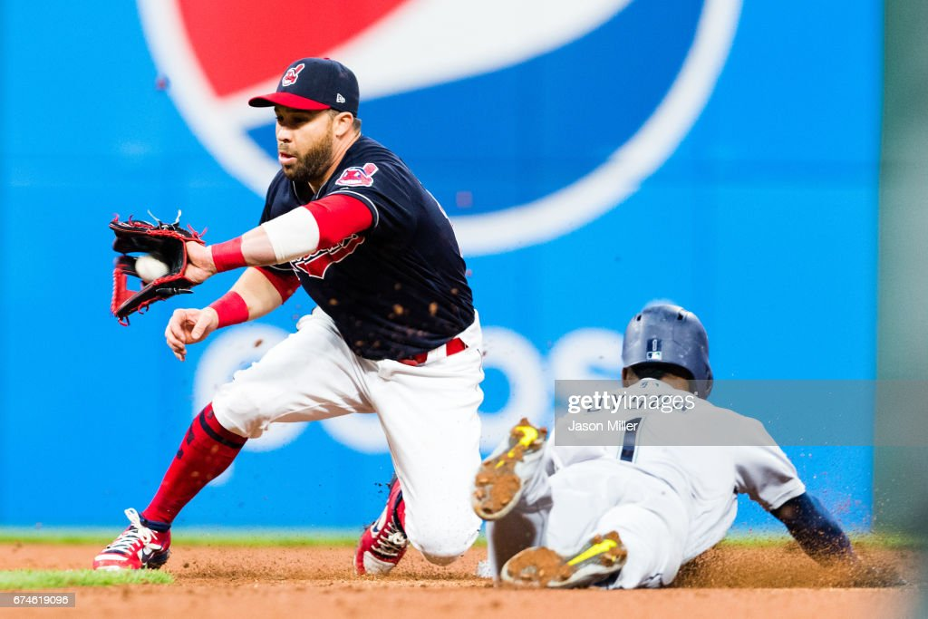 Second baseman Jason Kipnis #22 of the Cleveland Indians tags out Jarrod Dyson #1 of the Seattle Mariners on a steal attempt at second to end the top of the fifth inning at Progressive Field on April 28, 2017 in Cleveland, Ohio. The Mariners defeated the Indians 3-1.