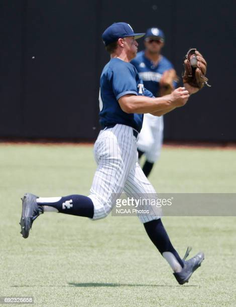 Second baseman JD Hearn of UC San Diego makes an over the shoulder catch on a ball hit by Alex Gouveia of West Chester University during the Division...