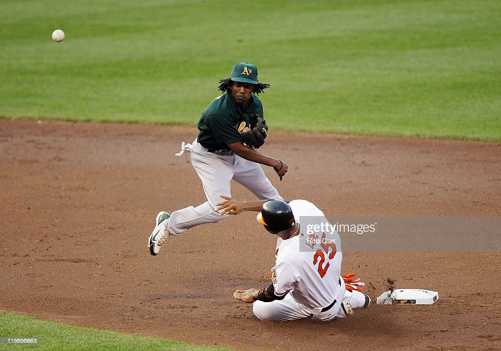 Second baseman Jemile Weeks #19 of the Oakland Athletics throws to first base to turn a double play after forcing out Derrek Lee #25 of the Baltimore Orioles during the second inning at Oriole Park at Camden Yards on June 8, 2011 in Baltimore, Maryland.