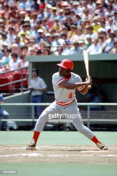 Second baseman Joe Morgan of the Cincinnati Reds bats against the Pittsburgh Pirates at Three Rivers Stadium in June 1978 in Pittsburgh,...