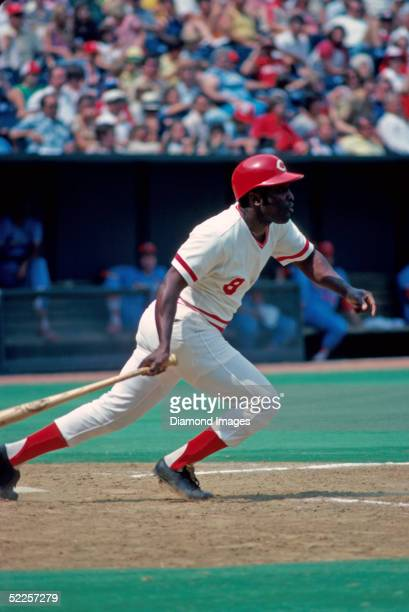 Second baseman Joe Morgan of the Cincinnati Reds watches his hit to right field during a 1978 game against the St Louis Cardinals at Riverfront...